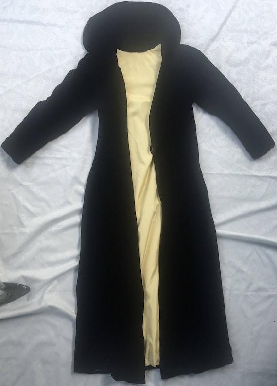 1920's black velvet opera coat