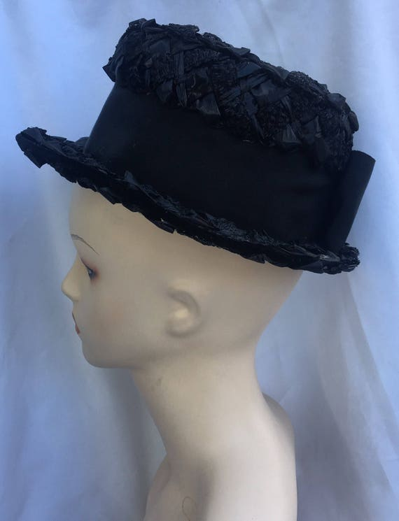 Straw hat,black hat with ribbon, summer hat. - image 4