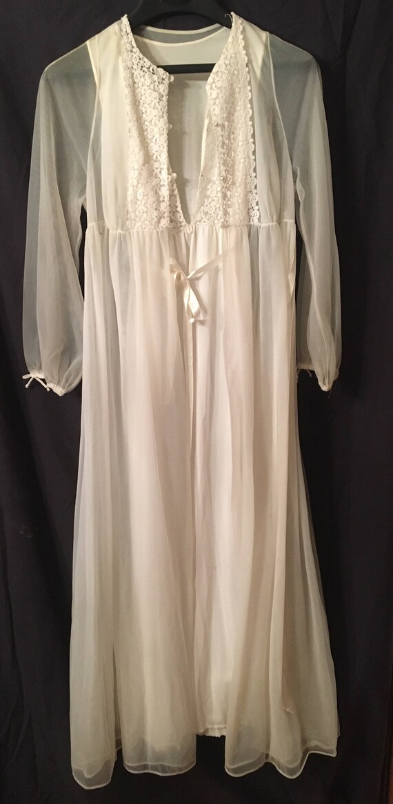 1960's bridal peignoir set, long gown and robe