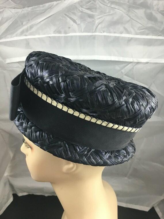 1950's pillbox hat, navy blue hat, straw hat, sum… - image 3