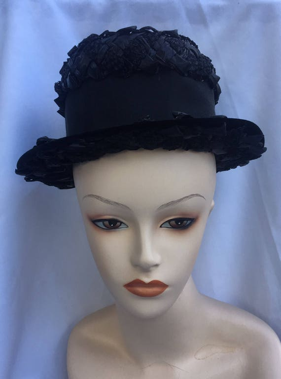 Straw hat,black hat with ribbon, summer hat. - image 1