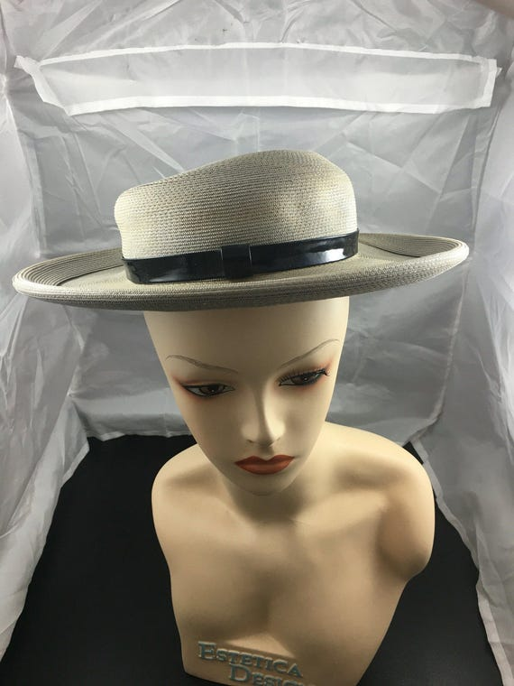 1950s brimmed hat, summer hat, gray hat