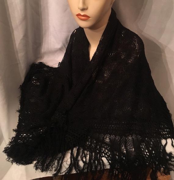 Black shawl, light weight shawl, fringe shawl, old
