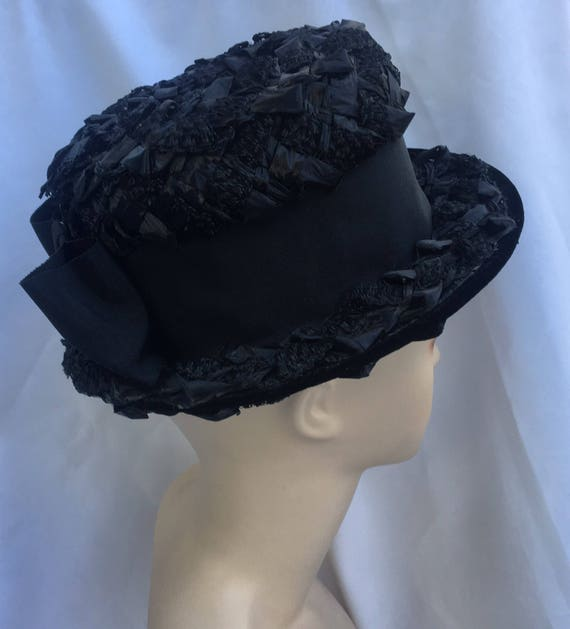 Straw hat,black hat with ribbon, summer hat. - image 2