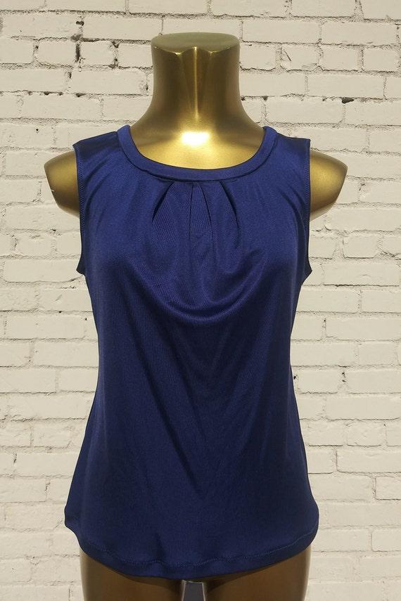 1063b31e55729 Blue Pure Silk Jersey Sleeveless Top CLEARANCE