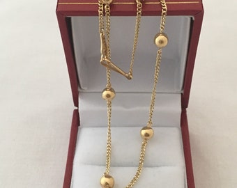 """18K Gold Beads Sectional Link Chain Necklace 16.5"""" Length Weighs  6.1  Grams"""