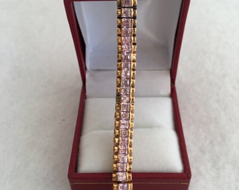 Gorgeous Gold Vermeil 925 Sterling Silver Pink Stepped Faceted Cut Tennis Bracelet Signed Htc