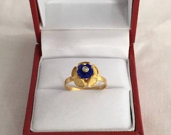 Unique 14K Gold Lapis Diamond Flower Ring 585 Yellow Gold