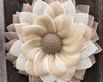 Poly Burlap Flower, Flower Wreath, Neutral Wreath, Everyday Wreath, For Front Door, All Season Wreath, Rustic Wreath, Everyday Wreath