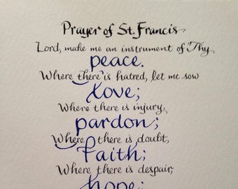 Confirmation Gift,  Custom Calligraphy  Youth Baptism Gift, Priest Gift, 8 x 10 Prayer of St. Francis  Hand Lettered Your Choice of Colors