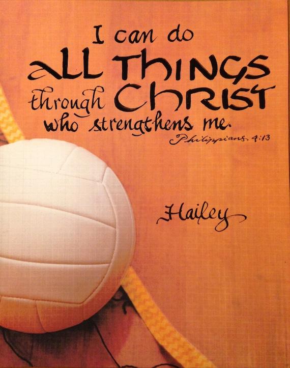 Volleyball Konfirmation Verse Volleyball Geschenk Kundenbestätigung Geschenk Kinderzimmer Philippians 4 13 Hand Geflet 8 X 10 Zoll