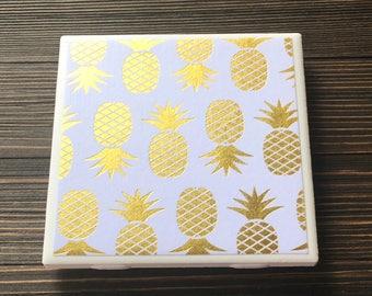 Pineapple Coasters, Gold Foil Pineapple Coasters, Set of 4 Coasters