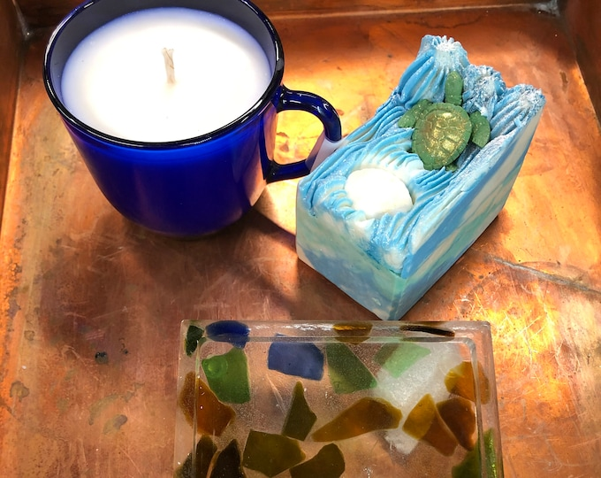 Ocean Lovers Gift Set, Soap, Candle, Coaster