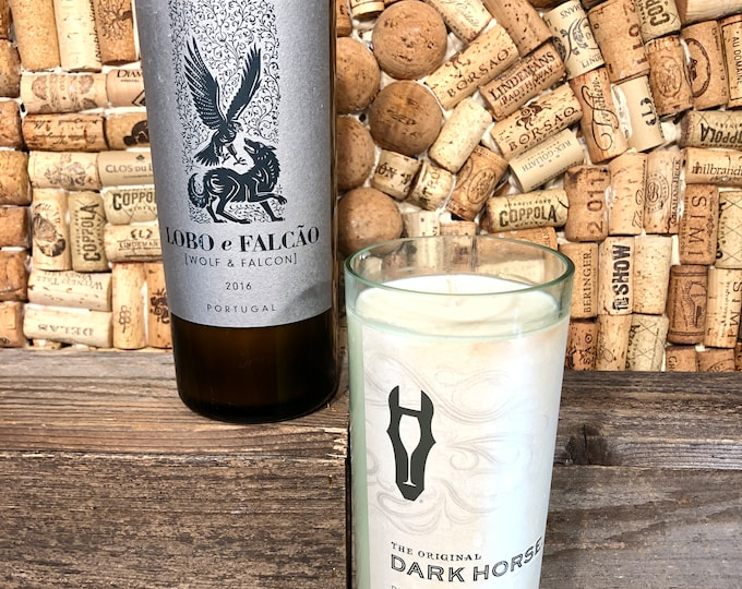 Recycled Wine bottle Soy candle, Choose your label