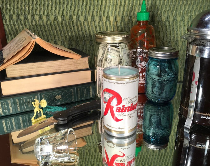 The Walt Longmire special Vintage Rainier can w a soy candle, FREE SHIPPING!