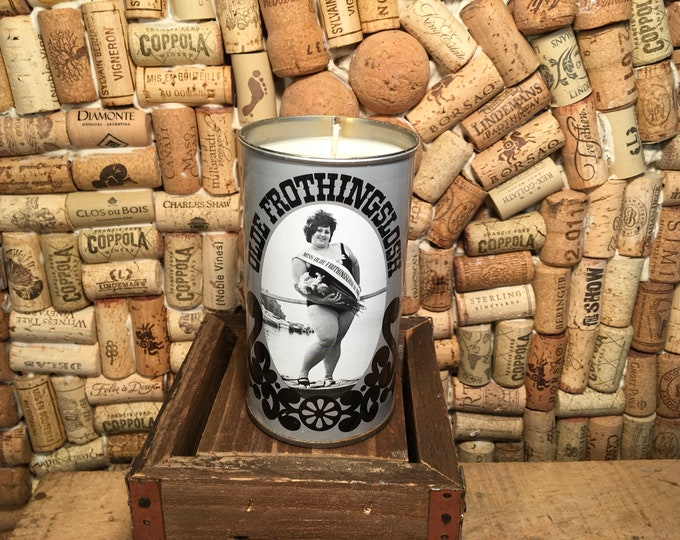 Vintage Beer Can Candle Soy Smoky Embers scent in a Frothingslosh Can