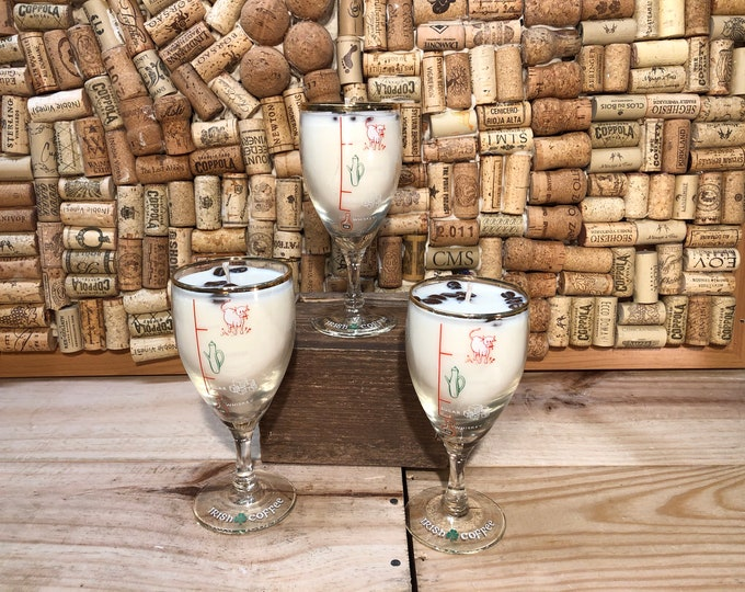 FREE SHIPPING! Vintage Irish Coffee Glasses, Soy scented candle