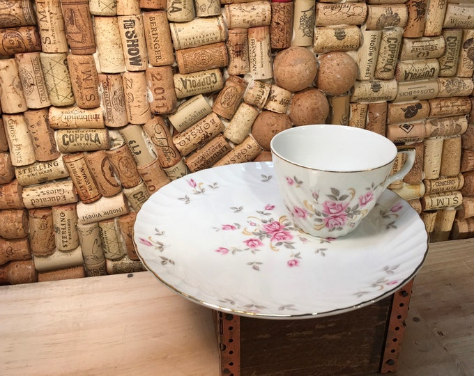 FREE SHIPPING! Lefton 3171 Moss Rose Tea Cup and Saucer Snack Set, bone china, England