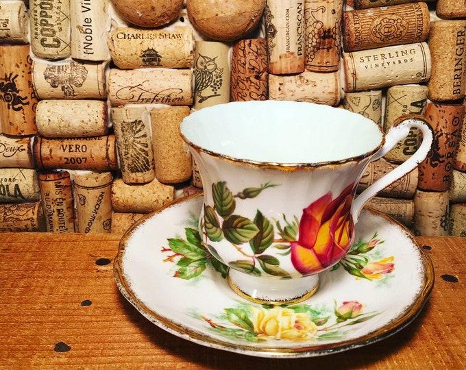 FREE SHIPPING! Vintage Royal Albert Rose Floral Sheraton Series Belinda Tea Cup and Saucer, bone china, England