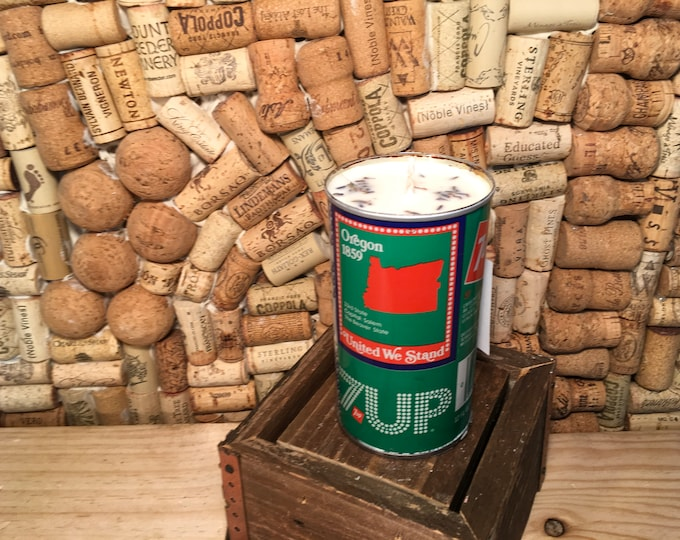 FREE SHIPPING! Vintage 7Up Can Candle, soy Lavender scent