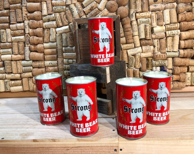 FREE SHIPPING! Vintage Polar Bear  Beer Can Candle, Forest Floor Scent