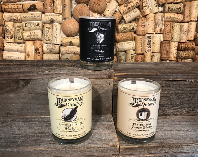 Journeyman Whiskey Trio of soy candles, Smoky Embers scent