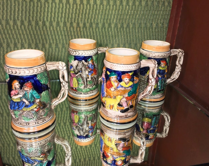 FREE SHIPPING! Set of Four Vintage Large Imperial Japan Ceramic Beer Steins or Mugs