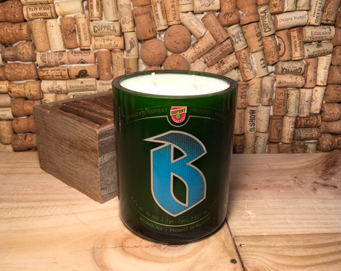 FREE SHIPPING! Giant Dupont Belgium Beer Bottle with a Smoky Embers Soy Candle