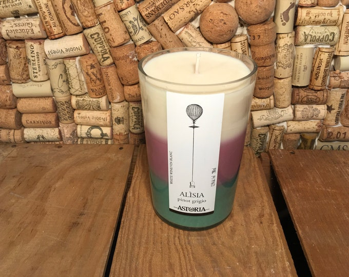 FREE SHIPPING! Astoria Alisia Pinot Grigio Wine bottle with a three layered soy candle