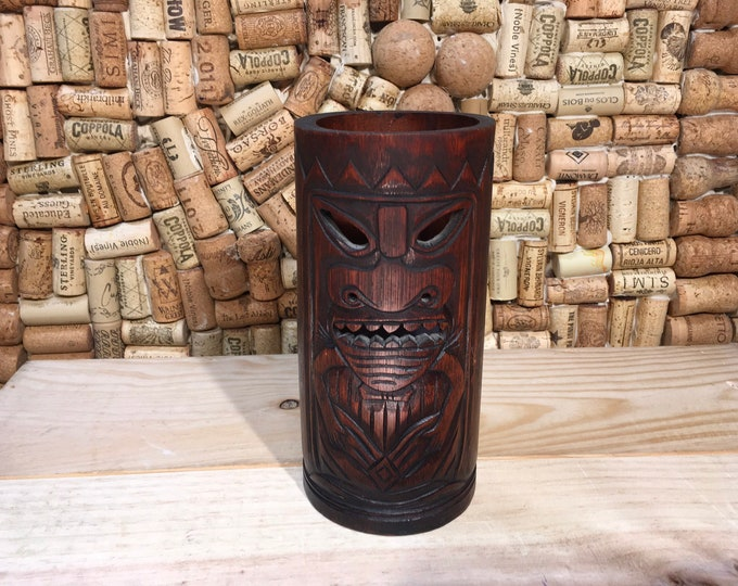 FREE SHIPPING! Vintage 1970's hand carved Tiki bar lamp