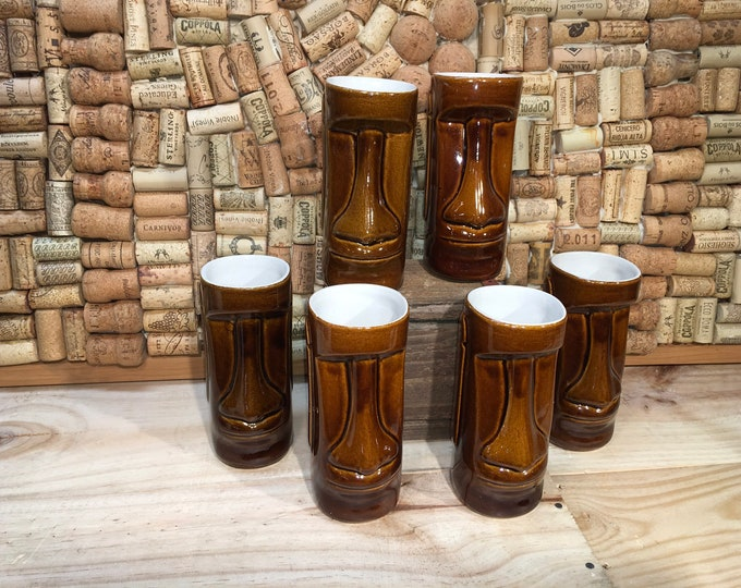 FREE SHIPPING! Set of six Daga Tiki mugs, Kona Hawaii, excellent condition