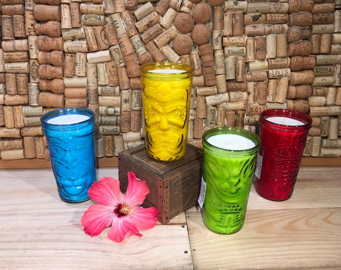 FREE SHIPPING! Large Tiki Glass Candle, Choose your scent