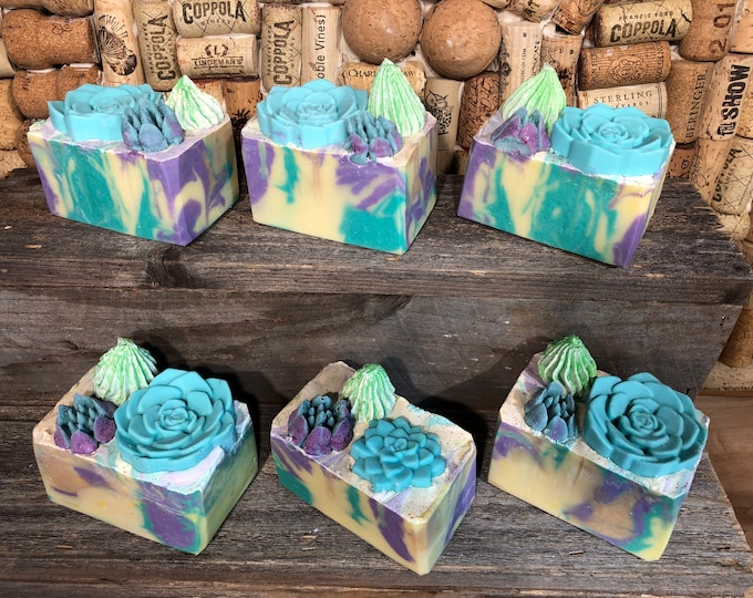 Cactus Garden soap, Lemon Eucalyptus, Vegan Cold Process Soap
