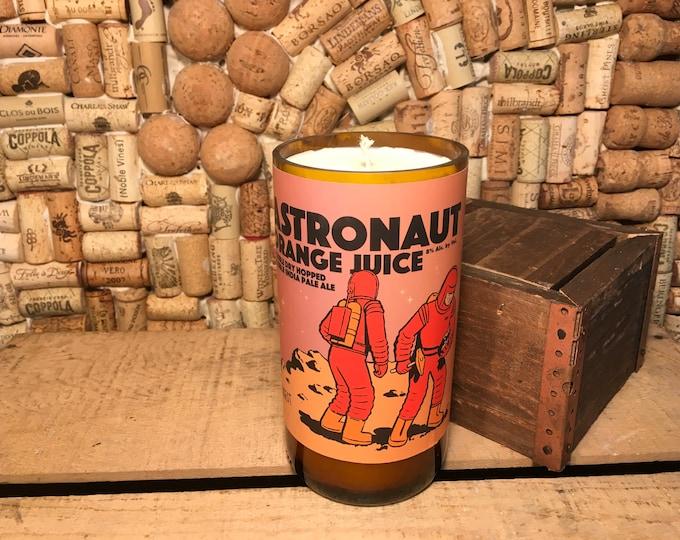 FREE SHIPPING! Fruity Bergamot soy candle in an Astronaut Orange Juice IBW Beer Bottle