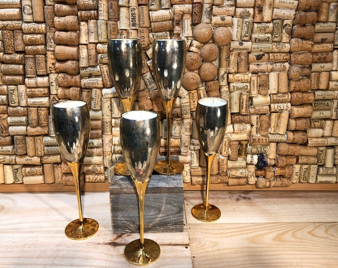 FREE SHIPPING! Vintage Gold Wine Glass, Champagne Cocktail scented candle