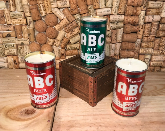 FREE SHIPPPING! Vintage ABC Can Candle, Choose your scent