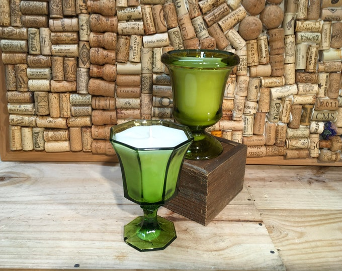 Vintage green wine glass with Forest Floor candle, Ships Free!!