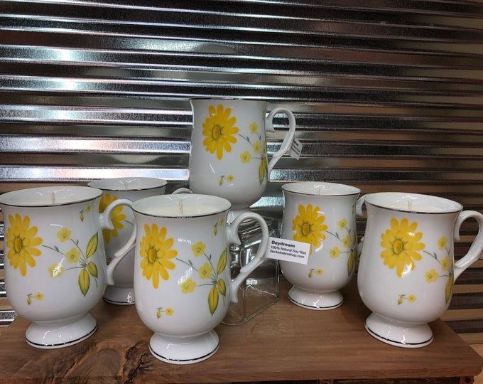 Vintage yellow floral tea cup filled with a soy candle, Daydream scent. SHIPS FREE!
