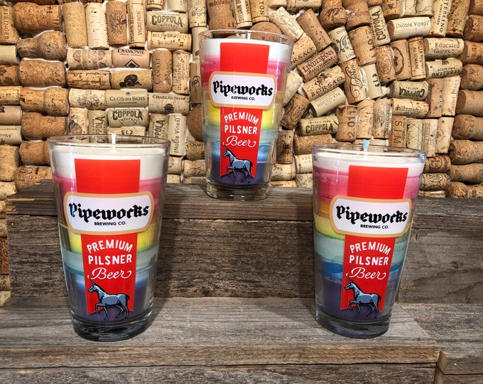 Rainbow Candle in a Pipeworks Unicorn Glass, Amber And Caramel Scent, Ships Free