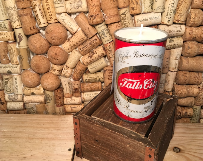 FREE SHIPPING! Vintage 70's Falls City Louisville Kentucky Beer Can Candle, Soy Gypsy Spirit scent