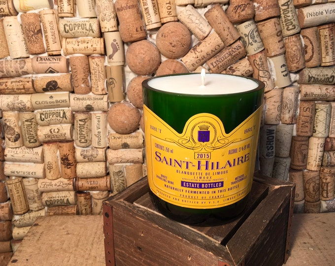 FREE SHIPPING!  Brut Saint-Hilaire Bottle Soy Candle, Sangria scent