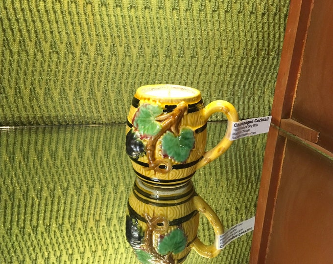 FREE SHIPPING! Vintage Ceramic Barrel Mug, Soy Champagne Cocktail scented candle