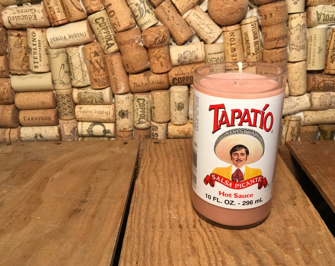 FREE SHIPPING! Tapatio hot sauce bottle with a Soy Indian Sandalwood Candle