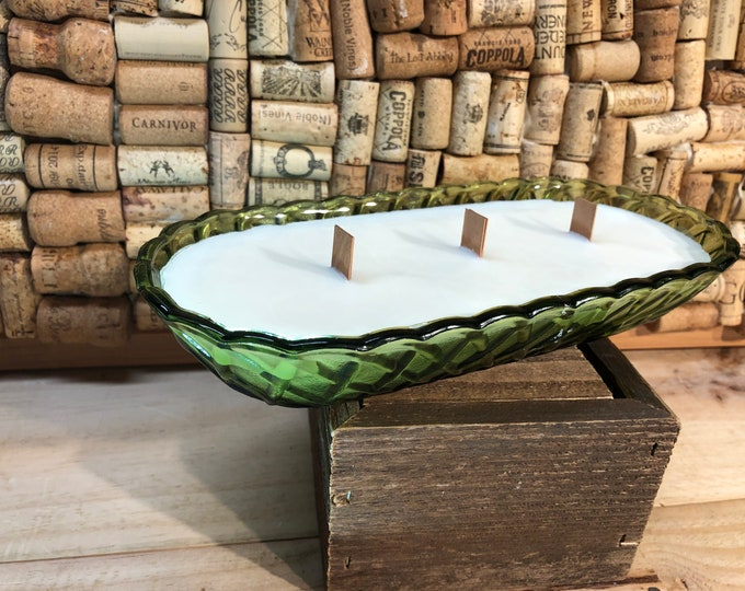 FREE SHIPPING! Vintage Green Iridescent Dish, Triple Wood Wick, Forest Floor Scent