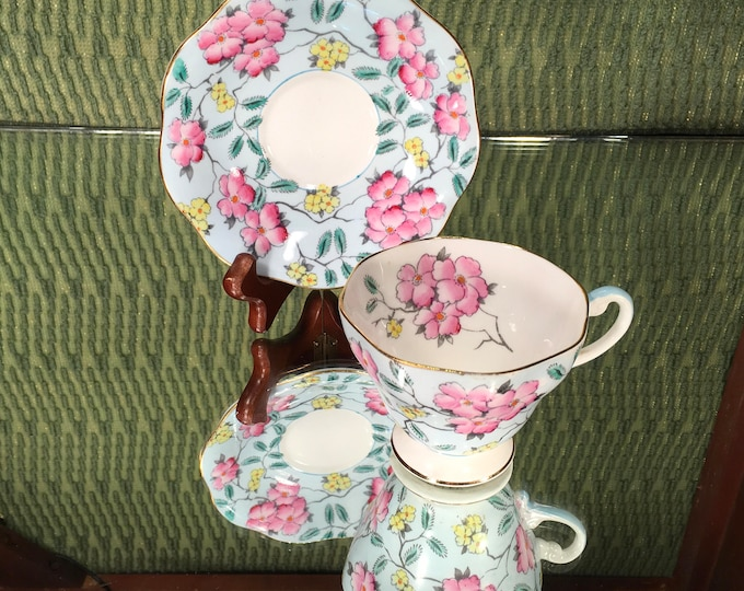 EB Foley Springdale Floral Tea Cup and Saucer, English, Blue