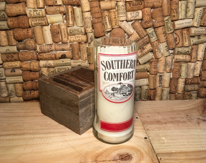 FREE SHIPPING Southern Comfort Whiskey soy candle in a Leather scent