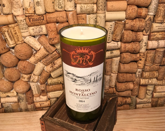 FREE SHIPPING! Rosso Di Montalcino Red Wine bottle with a Amber and Caramel  Scented Soy Candle