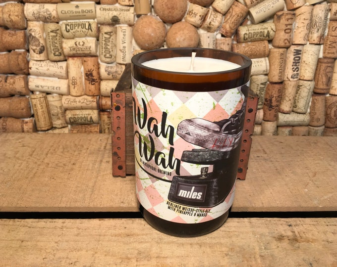 FREE SHIPPING! Mikerphone Wah Wah bottle with an Amber & Caramel soy candle