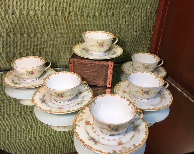 FREE SHIPPING! Set of Six Empress China Windmere Floral Tea Cups and Saucers
