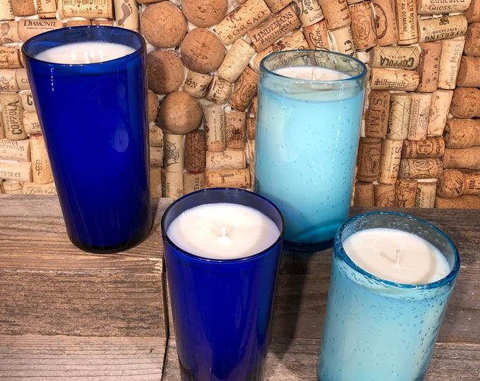 Blue Seaside Holiday scented soy candle in a vintage glass